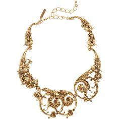 Oscar de la Renta 24-karat gold-plated scroll necklace (€445) ❤ liked on Polyvore featuring jewelry, necklaces, accessories, colares, oscar de la renta, baroque jewelry, 24 karat gold jewelry, lobster clasp necklace, oscar de la renta jewelry and 24-karat gold jewelry