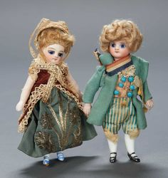 Apples - An Auction of Antique Dolls: 164 Pair,Exquisite French All-Bisque Mignonettes in Original Costumes