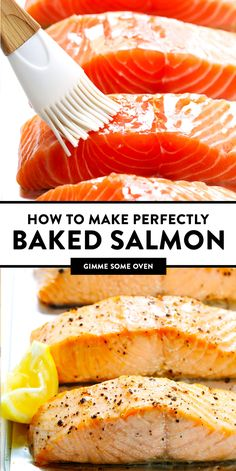 The BEST Oven Baked Salmon recipe! Easy to make in less than 15 minutes perfectl. - The BEST Oven Baked Salmon recipe! Easy to make in less than 15 minutes perfectly cooked and easy t - Oven Baked Salmon, Baked Salmon Recipes, Baked Fish, Fish Recipes, Seafood Recipes, Baking Salmon In Oven, Simple Baked Salmon, Xmas Recipes, Summer Recipes