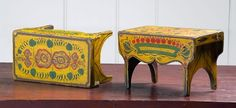 1830 paint decorated pair of footstools