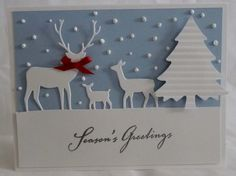 Deer Family - Set of 5 Christmas Cards. Snowy day, landscape, trees, holiday, Christmas, deers.. $24.95, via Etsy.
