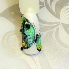 @pelikh_ nailz Butterfly Nail Designs, Butterfly Nail Art, Nail Art Designs, Gem Nails, Nail Manicure, Hair And Nails, How To Cut Nails, Love Nails, Christmas Nail Designs