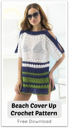 Our cold-shoulder, openwork cover up is perfect for your vacation or a day lounging in the sun. Free PDF download. #ad #affiliate #crochet #pattern