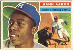1956 Topps Hank Aaron (Braves) Baseball card The action photo on the front incorrectly pictures Willie Mays! Braves Baseball, Baseball Players, Mlb Players, Baseball Stuff, Softball, Hockey, Hank Aaron, Baseball Cards For Sale, Football Cards