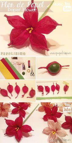 Flor de papel con papel de seda o crespón | http://papelisimo.es/como-hacer-flor-de-papel-con-papel-de-seda-o-crespon/