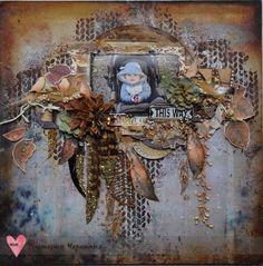 Challenge - scrapki-wyzwaniowo: winner of Se[tember 2017 challenge - Journey - Vika Cherepanya Layout Inspiration, Autumn Inspiration, Scrapbook Page Layouts, Scrapbook Pages, Paper Art, Paper Crafts, Mixed Media Scrapbooking, Memory Album, Z Arts