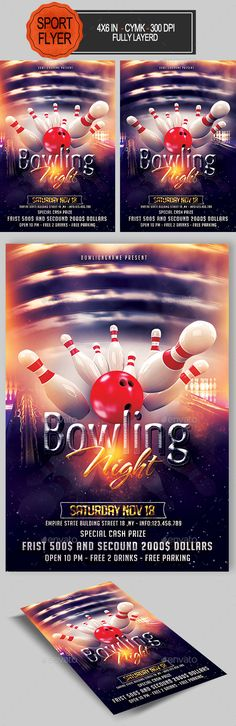 Bowling Flyer Bundle  Flyer Template Event Flyers And Fonts