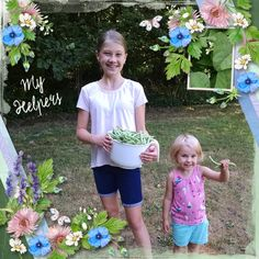"""Our LOTD goes to  dj_w for the wonderful """"My Helpers"""".  And now I want fresh, hand-picked green beans! These colors are so fresh, so inviting, I can almost nibble on the page. Almost.  Wonderful layout, showcasing a fabulous summer memory. Love!  She used both The Bigger Picture #5  template by Heartstrings Scrap are and the Natural Bundle by Julie C Designs."""