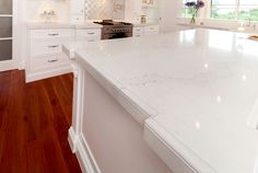 View 20mm Caesarstone Calacatta Nuvo Kitchen with Intricate Edge Detail - Fabricated by Brisbane Granite and Marble