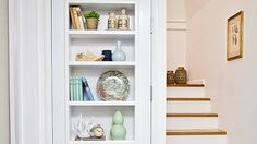 Give your plain door a great new purpose by turning it into eye-catching shelving.  You walk in the front door. There's a door to the garage on your right, doors to the study, spare bedroom and bathroom on the left, then, slap-bang in the middle, a door to your under-stair storage cupboard. You are surrounded by doors, all blankly staring back at you. But you can give your hallway (or any area crowded with doorways) a lift by converting a door that's not in constant use into in-door shelving!