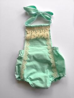 Vintage style boho baby romper lace trim mint green cream fringe halter top romper bohemian simple style romper baby sunsuit easter outfit by ChaoticCutieCo on Etsy https://www.etsy.com/listing/285582793/vintage-style-boho-baby-romper-lace-trim