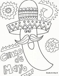 125 Free, Printable Cinco de Mayo Coloring Pages for Kids: Cinco de Mayo Coloring Pages from Celebration Doodles