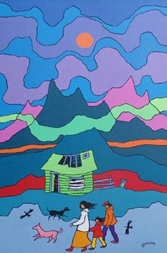 Ted Harrison Canadian Painters, Canadian Artists, Popular Artists, Famous Artists, Ted, Cultural Crafts, Yarn Painting, Canada 150, Illustration Art