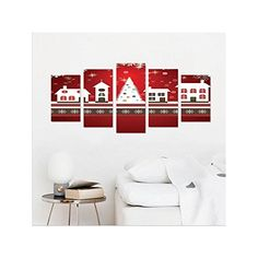 Liguo88 Custom canvas Christmas Decorations Collection Winter Holidays Themed Gingerbread Houses Xmas Tree Lights and Snowflakes Image Bedroom Living Room Wall Hanging Red White -- Learn more by visiting the image link.