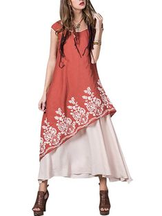 Gracila Floral Embroidered O-Neck Short Sleeve Layered Dress For Women