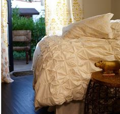 pretty bed with lovely draperies
