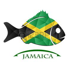 Logotipo de pescado hecho de la bandera de Jamaica.