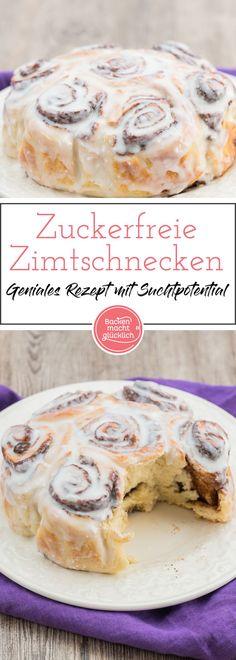 Eines meiner Lieblingsrezepte: Wunderbar fluffige Zimtschnecken bzw. Zimtschnecken-Kuchen ganz ohne Zucker