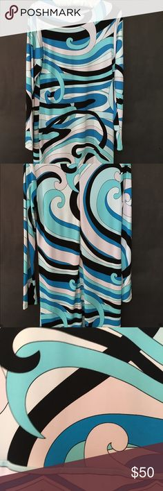 "Michael Kors Mod Sheath Dress My favorite colors! Aqua, cobalt, white and black all swirled together to give a very Pucci look! Beautiful fabric for a fabulous drape and fit.  36"" length. KORS Michael Kors Dresses"