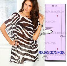 Analise de forma detalhada o desenho do molde de túnica estampada. Esta túnica é simples e bela, veste de forma descontraída e elegante.