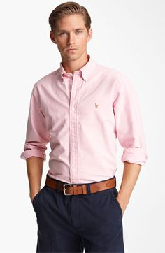 Polo Ralph Lauren Custom Fit Oxford Shirt available at Nordstrom Smart Casual Outfit, Preppy Outfits, Men Casual, Camisa Ralph Lauren, Polo Ralph Lauren, Ralph Lauren Custom Fit, Mexican Outfit, Custom Made Shirts, Well Dressed Men