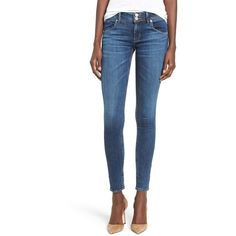 Women's Hudson Jeans 'Collin' Skinny Jeans ($198) ❤ liked on Polyvore featuring jeans, dream on, frayed jeans, hudson jeans, medium wash skinny jeans, blue jeans and skinny jeans