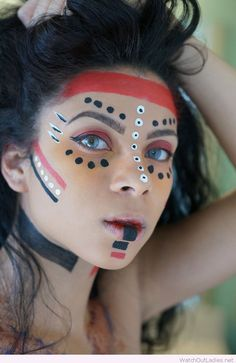 Wonderful tribal makeup for Halloween
