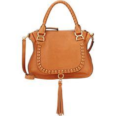 Chloé Women's Marcie Medium Satchel (£1,645) ❤ liked on Polyvore featuring bags, handbags, nude, genuine leather handbags, red leather handbags, chloe purses, red leather purse and nude handbags