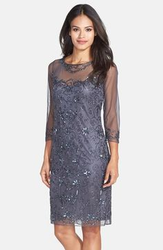 1920s style beaded dress - Womens Pisarro Nights Beaded Mesh Shift Dress Size 2 - Grey $158.00 AT vintagedancer.com