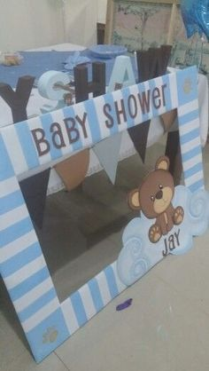 61 Super ideas for baby shower decorations yellow boys babyshower baby 379920918565885974 Marcos Para Baby Shower, Fotos Baby Shower, Idee Baby Shower, Mesas Para Baby Shower, Baby Shower Invitaciones, Shower Bebe, Baby Shower Games, Baby Boy Shower, Shower Party