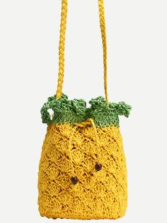 Yellow Pineapple Straw Bag With Drawstring
