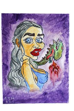Khaleesi with dragon acrylic painting on canvas.Quees Daenerys Targaryen,Mother of Dragons fan art. Cartoon Painting, Painting & Drawing, A Cartoon, Cartoon Styles, Cool Paintings, Paintings For Sale, Khaleesi, Daenerys Targaryen, Blue Wrapping Paper