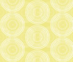 Watercolor mandalas on mid-century yellow fabric by su_g on Spoonflower - custom fabric