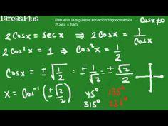 Solución ecuación trigonométrica con coseno y secante