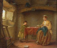John William Haynes Antique Original Fine Oil Painting Figures Interior Signed Religion, The Originals, Antiques, Raising, Modern, Oil, Image, Interior, Shabby Chic