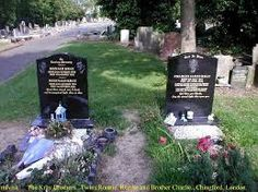 Kray graves. The twins' grave to the left and that of Charlie to the right.
