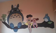 Totoro Nursery, I did this myself, step by step instructions on website # baby studio Ghibli, baby room walls painting Totoro catbus kittenbus. Stephie Blyth xx
