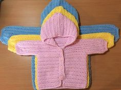 Hooking is a Lifestyle : Three Way Baby Sweater 0-3 Months; 3-6 Months; 6-12 Months; 12-18 Months; 18-24 Months; 24-36 Months