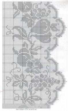Albüm Arşivi Crochet Curtain Pattern, Crochet Edging Patterns, Filet Crochet Charts, Crochet Curtains, Crochet Borders, Crochet Cross, Crochet Diagram, Crochet Patterns Amigurumi, Crochet Motif