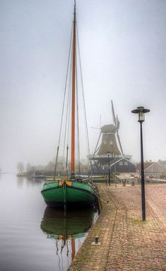 Where my grandmother came from.Boat and Windmill on a Misty Day, Friesland, Netherlands ~ Photography by Magic Places, Misty Day, Sail Away, Small Boats, Tall Ships, Sailing Ships, Sailing Boat, Lighthouse, Places To See