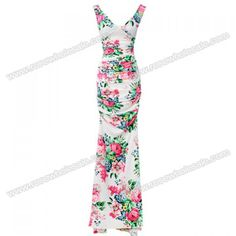 Wholesale Floral Print Ladylike Style V-Neck Sleeveless Polyester Maxi-Dress For Women (WHITE,ONE SIZE), Maxi Dresses - Rosewholesale.com