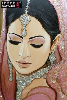 Fabulous, sparkle Indian Bride painting 'Moments In Love'. Glamour Asian Bridal Portrait Art by Frank Wagtmans. Beautiful, large 100 % hand made artwork!