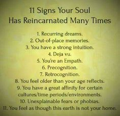 Read this out of curiosity, not completely on board with reincarnation. Turns out a lot of these are me.