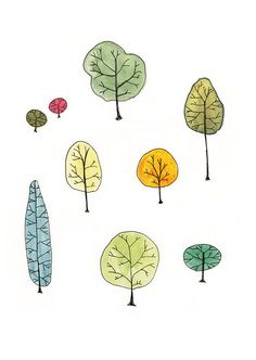 Watercolor Painting Tree Family Art Print 5 x by courtneyoquist