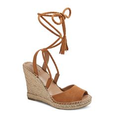 Women's Maren Lace Up Wedge Espadrille Sandals - Merona Taupe 5.5, Taupe Brown