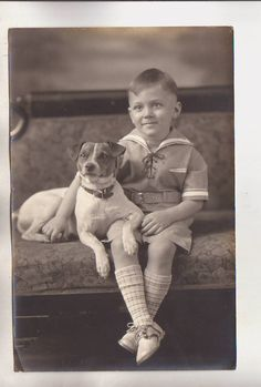 Cute Vintage Photo Precious Boy Lord Fauntleroy Sailor Outfit Jack Russell Dog