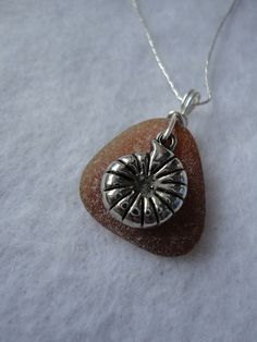 Drilled brown sea glass necklace with by atreasurefromthesea, $19.99