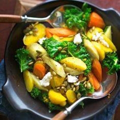 Lämmin juuressalaatti - Kotiliesi.fi - Root vegetable salad Life Is Beautiful Festival, Coachella Festival, Root Vegetables, Kung Pao Chicken, Mcdonalds, I Love Food, Feta, Vegetable Salad, Vegetarian