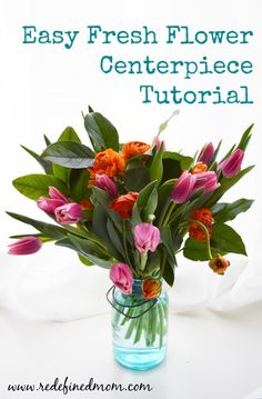Easy Fresh Flower Centerpiece Tutorial ~ simple instructions on how to make a beautiful centerpiece. Perfect for Valentine's Day and Easter celebrations