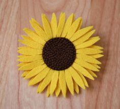 Felt Sun Flower Brooch or Hair Clip by TheFeltFairyTale on Etsy